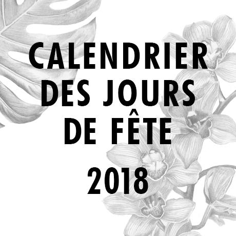 Calendrier des jours spéciaux en 2018