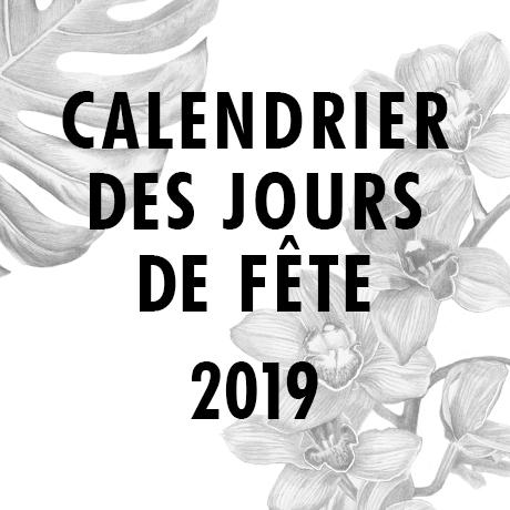 Calendrier des jours de fête 2019
